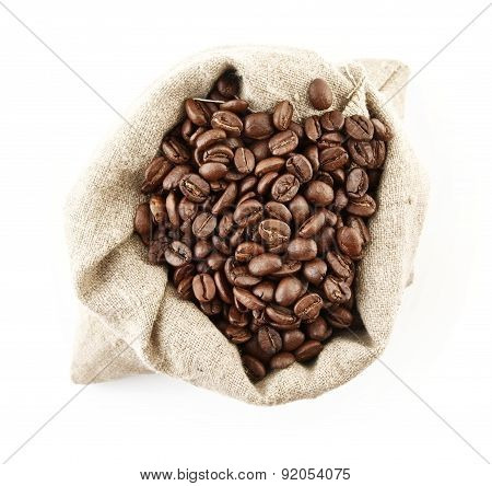 Sack Full Of Coffee Beans On White View From Above