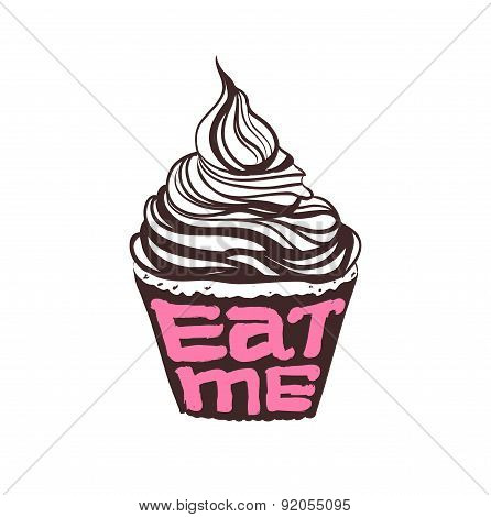 Hand drawing cupcake with text