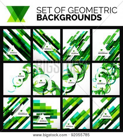 Set of flyer templates, abstract backgrounds, simple geometric shapes on white - lines, swirls, blocks