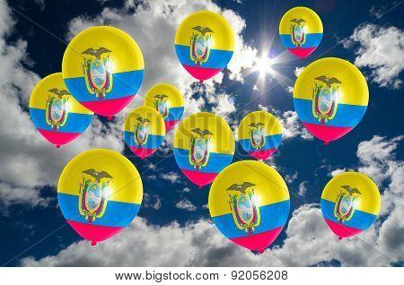 Many Balloons With Ecuador Flag On Sky