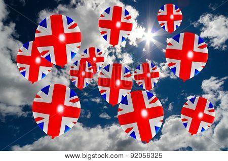 Many Balloons With United Kingdom Flag On Sky