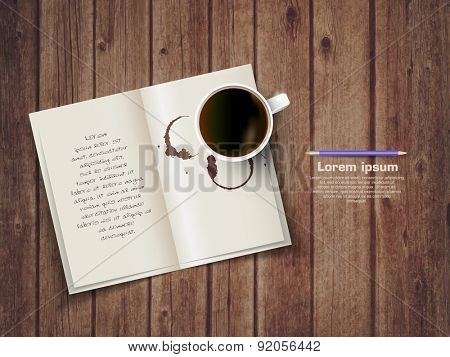 Open square format brochure on a wooden texture with cup of coffee