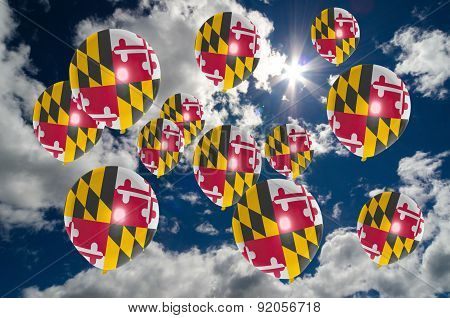Many Balloons With Maryland Flag On Sky
