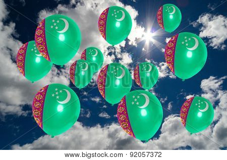 Many Balloons With Turkmenistan Flag On Sky