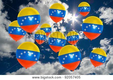 Many Balloons With Venezuela Flag On Sky