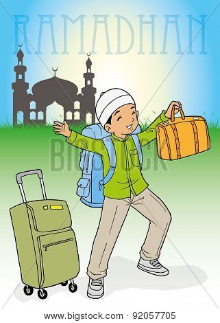 Indonesian muslim kid homecoming