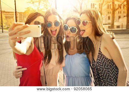 Four girls doing a selfie