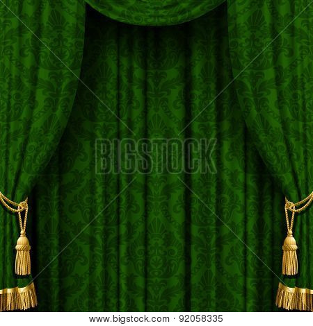 Dark background with a red curtain