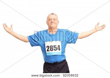 Mature runner finishing a race and celebrating his victory isolated on white background