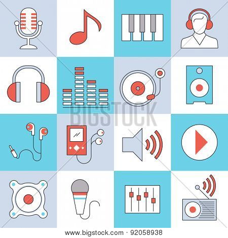 Audio, video equipment icons, modern thin lines style