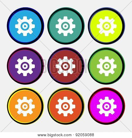 Cog Settings, Cogwheel Gear Mechanism Icon Sign. Nine Multi-colored Round Buttons. Vector