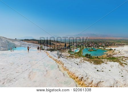 Travertine pools and terraces - Pamukkale Turkey panorama