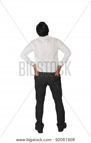 Rear View Businessman Thinking