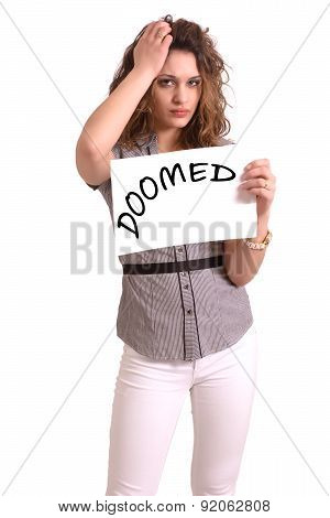 Uncomfortable Woman Holding Paper With Doomed Text