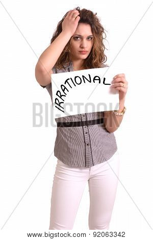 Uncomfortable Woman Holding Paper With Irrational Text