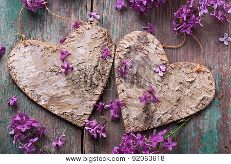 Postcard With Decorative Hearts And Lilac Flowers