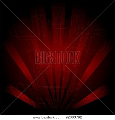 Abstract technology dark red background with rays