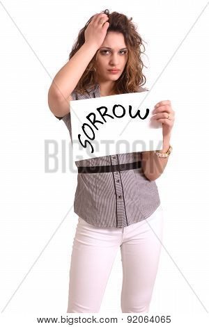Uncomfortable Woman Holding Paper With Sorrow Text