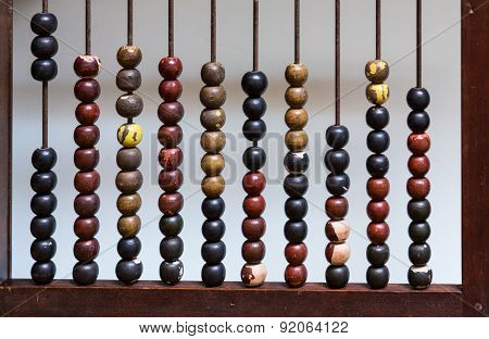 Antique Abacus With Painted Wooden Beads