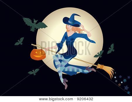 Merry Young Witch With A Pumpkin