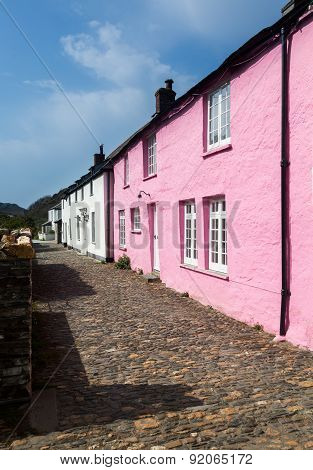 Narrow Alley Or Street In Front Of Colorful Cottages In Boscastle