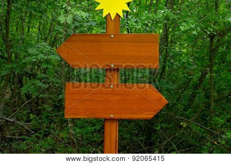 Direction sign in the woods