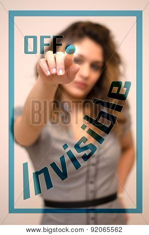 Woman Turning Off Invisible On Panel