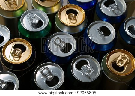 Empty beer cans after a party