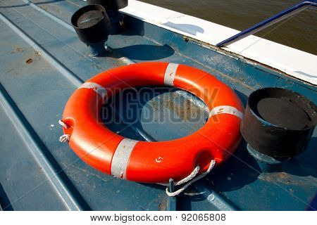 Lifebuoy in a dock by the water