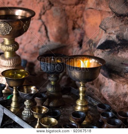 Icon-lamps In Tibetan Gompa