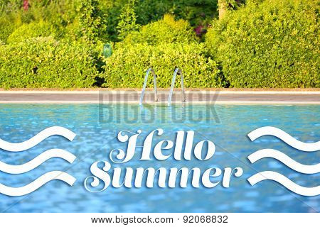Hello summer concept. Blue water in swimming pool