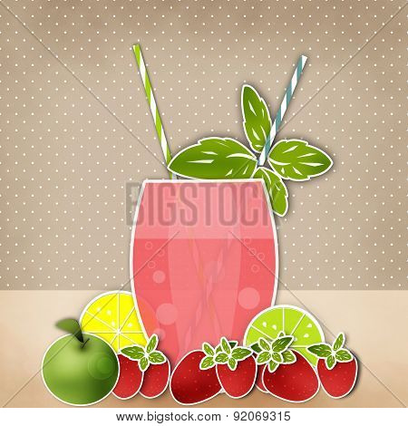 Cocktail Background. Glass Of Drink With Tubule. Retro Illustration Of Bubble Tea Or Milkshake.