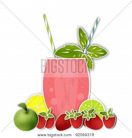 Cocktail Fruits Background. Glass Of Drink With Tubule. Illustration Of Bubble Tea Or Milkshake Isol