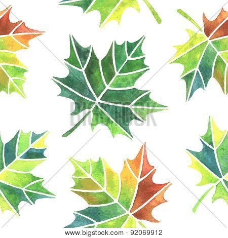 Watercolor Maple Leaves Seamless Pattern