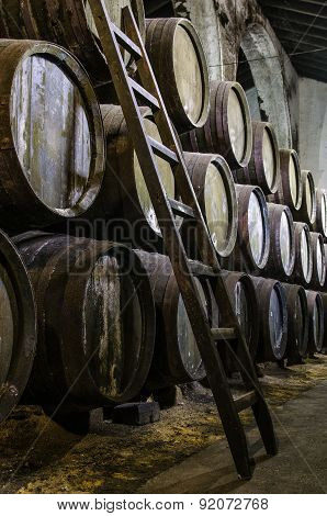 Whisky Or Wine Barrels With Wooden Step Ladders