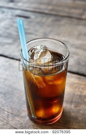 Soft Drink On Wood Table.