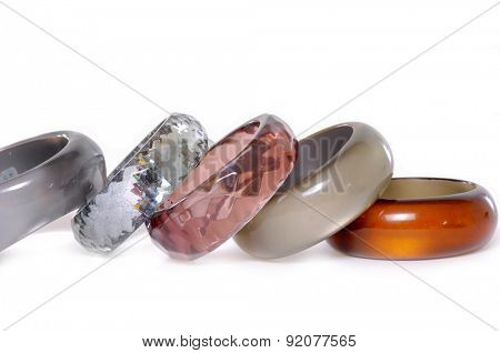 Set of round modern plastic bangles