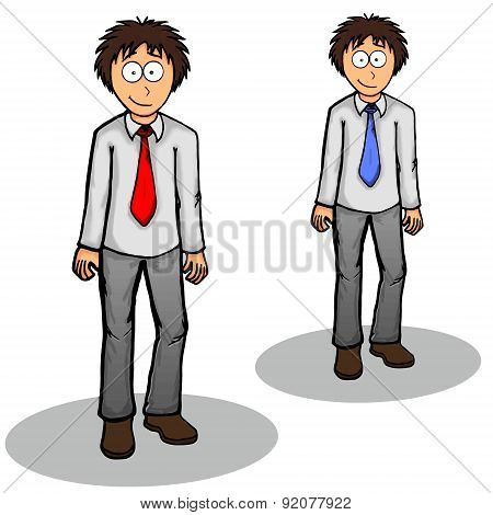 Boy Standing Vector Illustration Cute, Drawing, Expression, Friendly