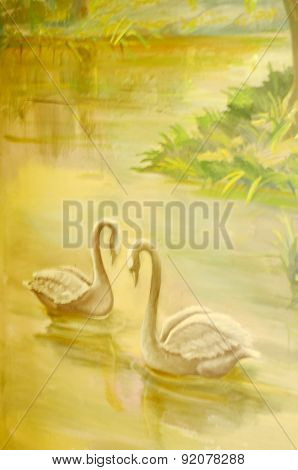 Two Watercolor swans