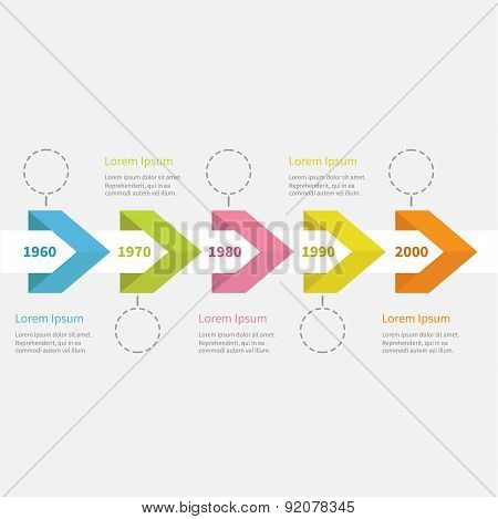 Infographic Five Step Timeline  Ribbon Arrow Dashed Circle And Text. Template. Flat Design.