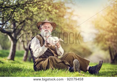 Farmer with cheese