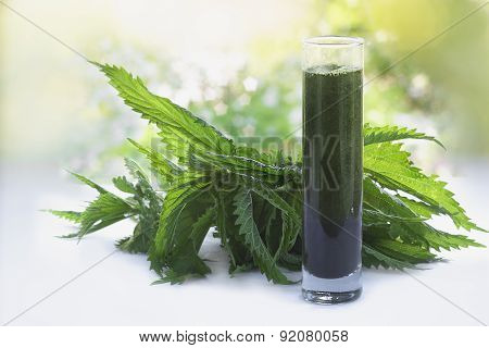 Nettles And A Smoothie Made Of Nettles Juice In  A Glass
