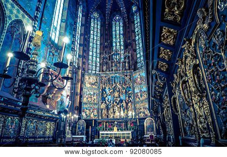 Interior of basilica in Krakow