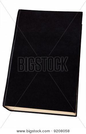 Old black hardback book isolated on white.