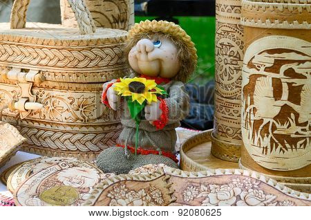Exhibition And Sale Of Products From Birch Bark And Toys Souvenirs