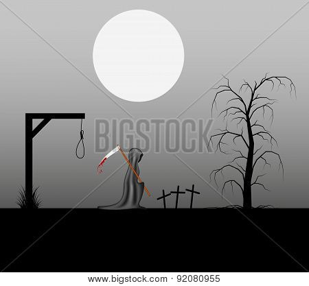 Spooky background with grim reaper with bloody scythe in a cemetery