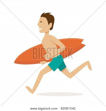 Male Surfer. Vector Illustration