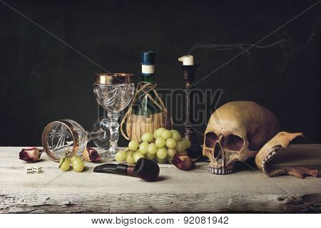 Vanitas With Skull; Pipe, Tobacco, Dice; Wine Glass, Wine And Grape