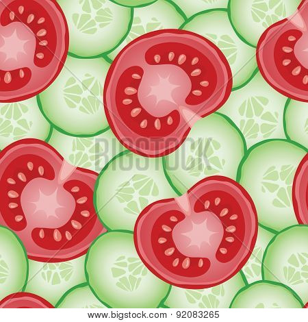 Fresh Sliced Cucumbers And Tomatoes Seamless Pattern
