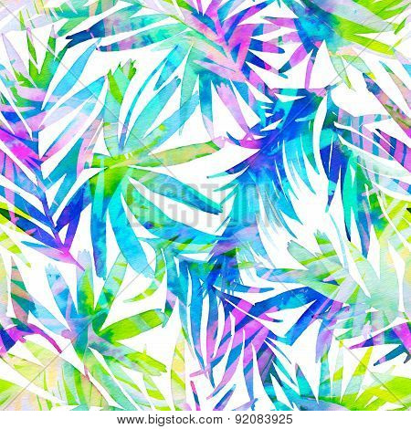 Seamless Tropical Pattern With Doouble Exposure